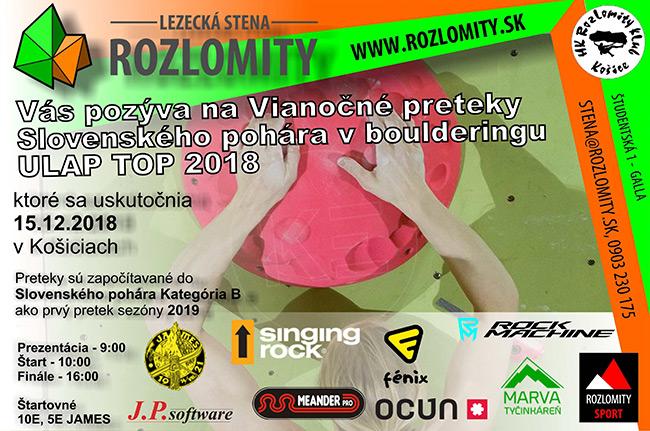 Preteky v boulderingu - Rozlomity Košice 2018